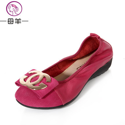Spring flat shoes genuine leather metal side buckle flat heel comfortable maternity mother shoes casual shoes<br><br>Aliexpress