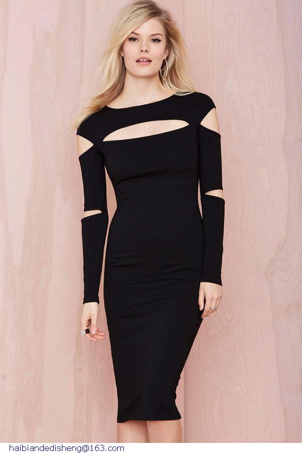 Ladies Office Dresses New Spring 2015 Sexy Women Casual Black Slash Long Sleeve Knee-Length Midi Dress Night Club Wear LC6998(China (Mainland))