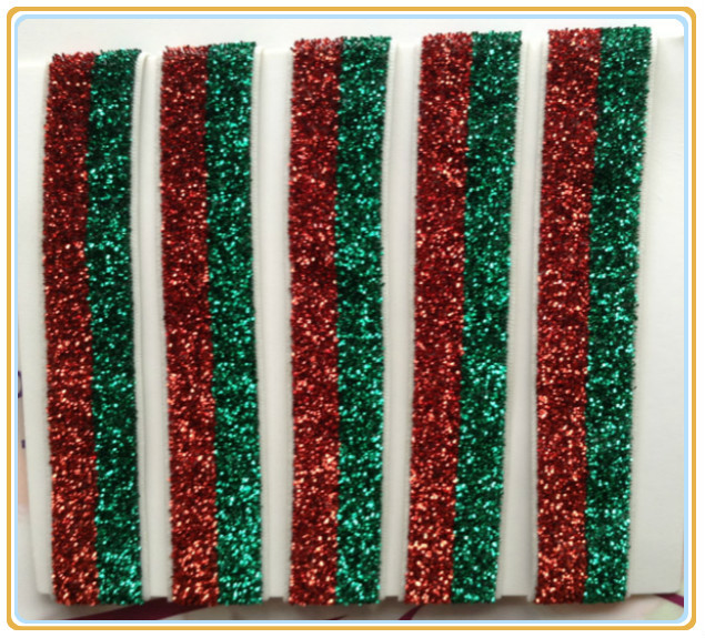 "(Price Negotiated) 5/8"" Christmas Elastic Red And Emerald Striped Gliter Velvet Ribbon(China (Mainland))"
