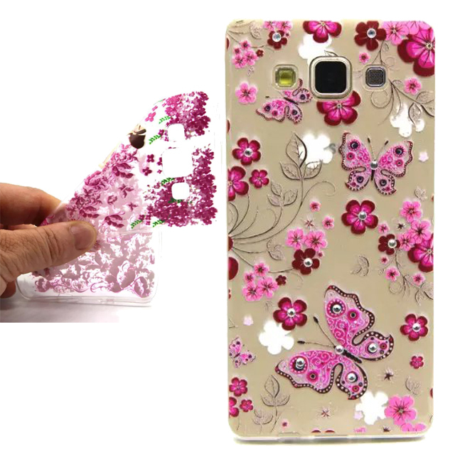 New Diamond Painted Soft Silicon TPU Back Cover Case For Samsung Galaxy A5 A500 A5000 A500F phone case(China (Mainland))