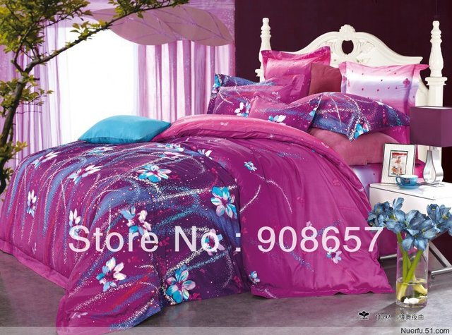 400TC violet red purple blue flower style cotton bed linen discount bedding set cheap quilt/duvet cover for full/queen comforter