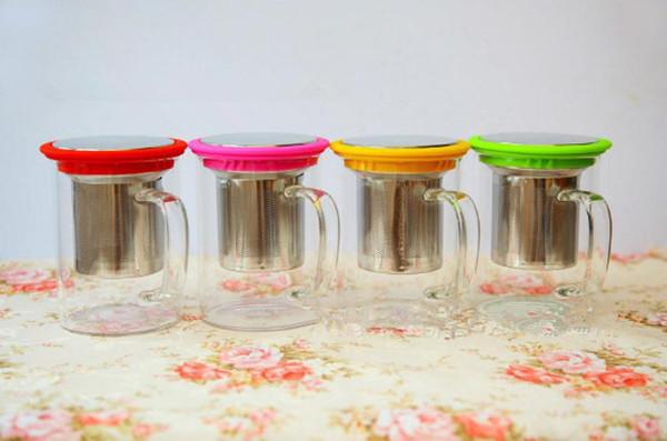 Colored Borosilicate Handmade Glass Custom Mug Tea With Infuser(China (Mainland))