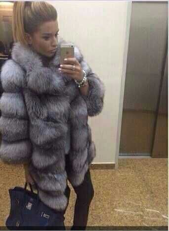 Natural real 2015 silver fox fur coat(China (Mainland))