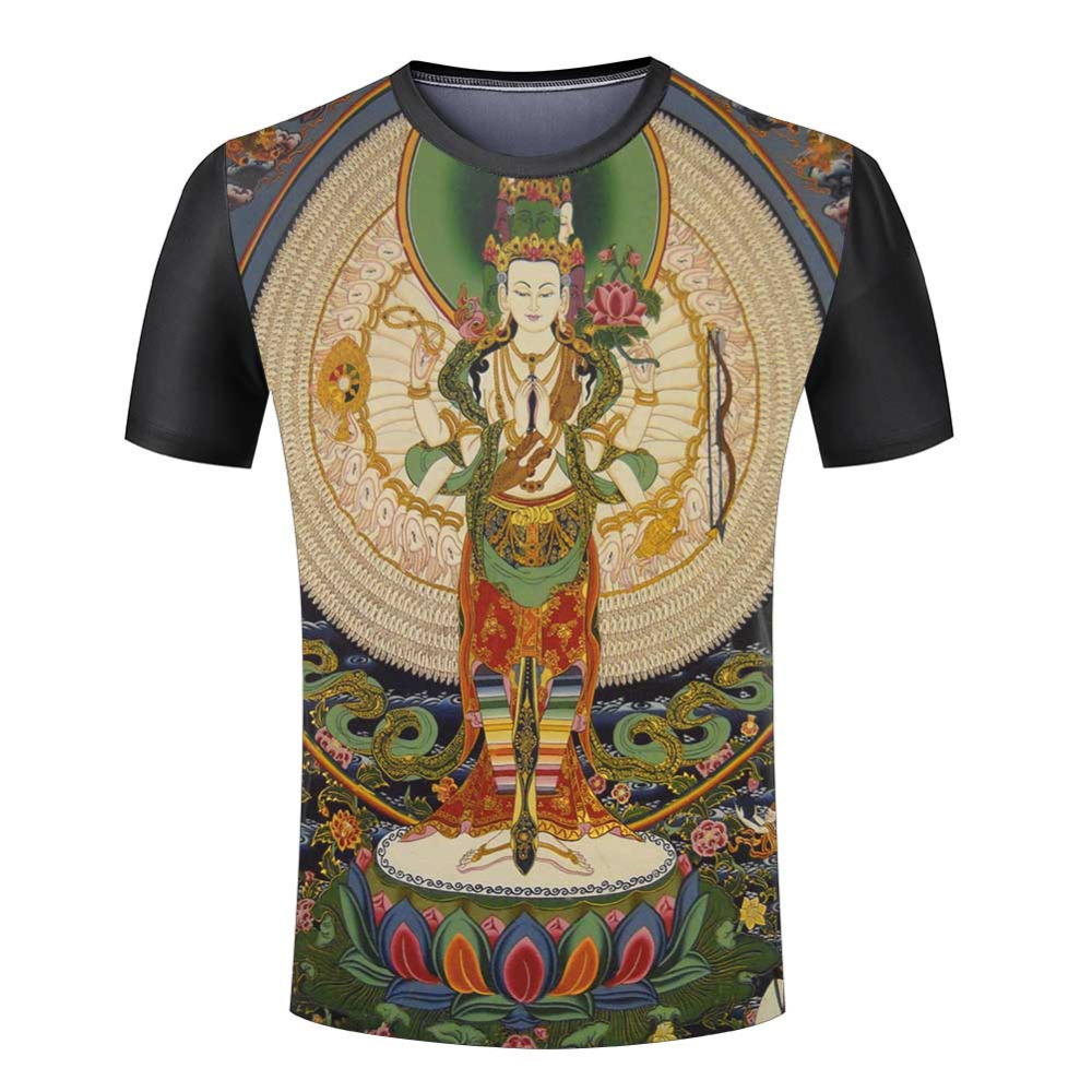 New Summer Harajuku Men Clothing Buddha Casual Mens T Shirt Swag Punk Rock Mens 3d Print shirts(China (Mainland))