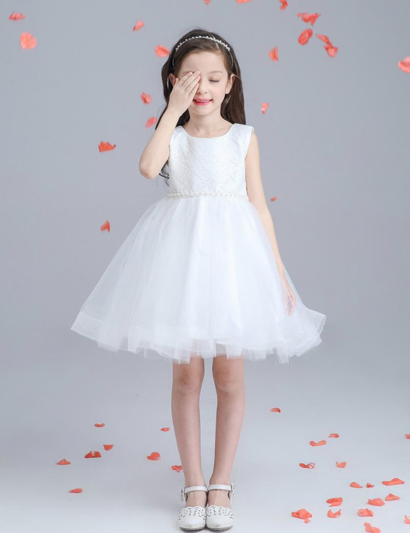 Скидки на Платья для Девочек Дети Принцессы Свадебное Платье Девушка В Белый Хлопок Рукавов Пачка Корейский