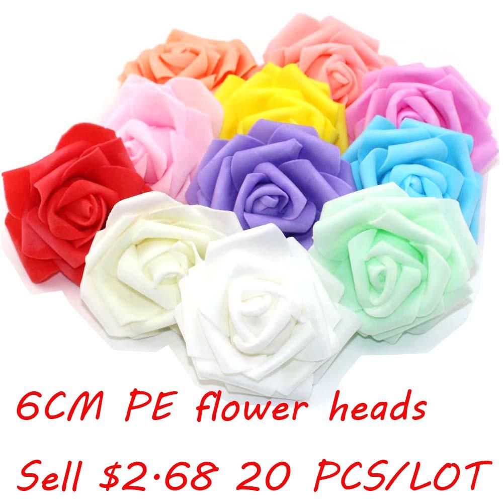 20pcs/lot Handmade DIY Artificial Flower Pe Rose Home Wedding Car/ Box Decoration(China (Mainland))