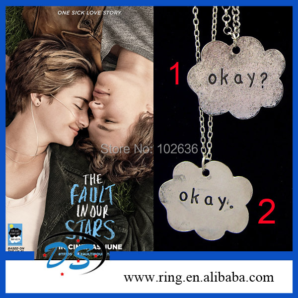 The Fault in Our Stars Set of Two Okay Necklace Cloud Friendship Okay? Okay. Necklace(China (Mainland))