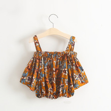 retail next new baby girls Korean kids tops pagoda sleeve Straight collar flowers Chiffon Halter tops striped children clothing