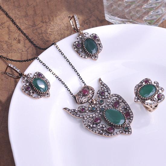 New Arrival Brand Turkish Fashion Resin Emerald Green Jewelry Sets Shiny Nice Choker Necklace Earring Set Masculino Bijuterias<br><br>Aliexpress
