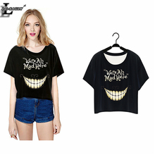 """Buy Lei-SAGLY 2017 """"We're Mad Here"""" Harajuku T-shirt Short Crop Tops Punk Sleeve Women Clothes Summer Style O-Neck T shirts F977 for $3.57 in AliExpress store"""