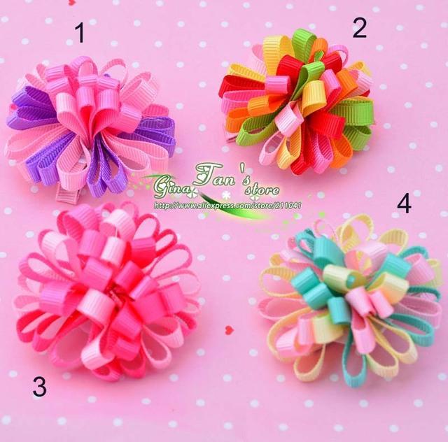 "20 pcs/lot  2"" Colorful Korker Baby Hair Clip Grosgrain Hair Bow barrette hair accessory 4 colorways for choice"