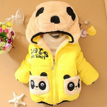 Vendita al dettaglio 1 pz bambini dei vestiti del panda del fumetto outwear ragazzo bambino inverno ispessimento usura tuta sportiva del cappotto bambini giacca di cotone imbottito(China (Mainland))