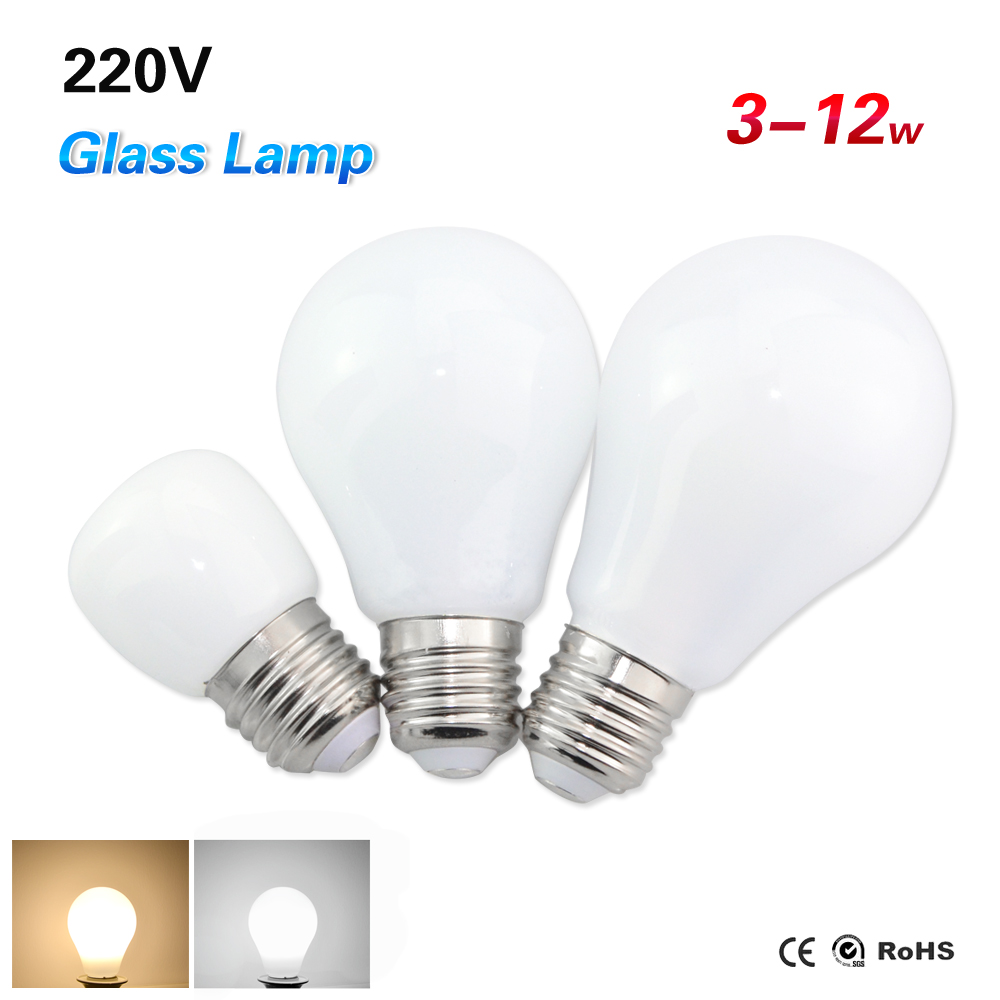 6PCS 3W 5W 7W 10W 12W Glass Cover E27 LED Lamp AC 220V 240V Bubble Ball LED Bulb 2835SMD Ampoule Led Light Spotlight Chandeliers(China (Mainland))