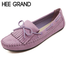 HEE GRAND Candy Color Women Loafers Tassel Fashion Round Toe Ladies Flat Shoes Woman Sweet Bowtie Flats Casual Shoes XWD2477(China (Mainland))