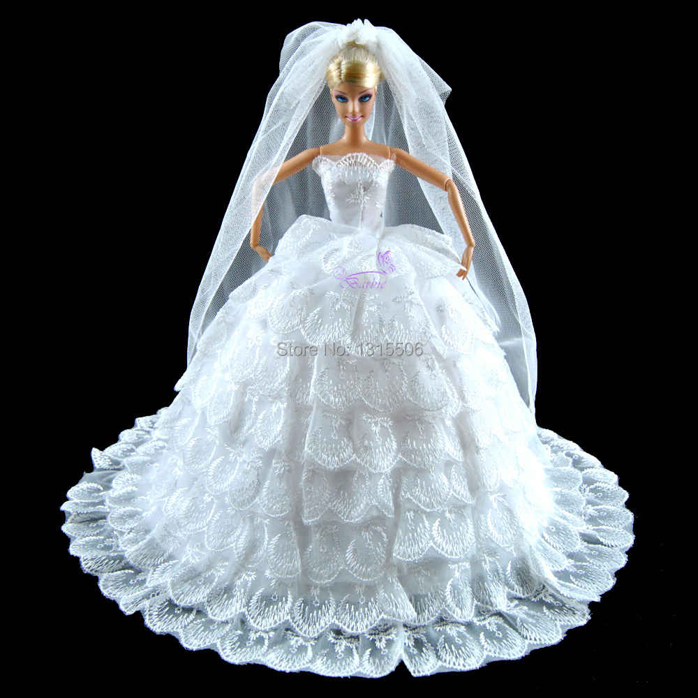 gorgeous wedding dress princess gown clothes for barbie doll white