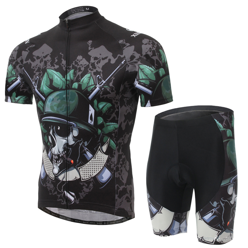 XINTOWN Skeleton Soldier 2016 men's Cycling Jersey Men's Short Sleeve Bicycle Cycling Clothing Bike Wear Shirts Outdoor  Mtb