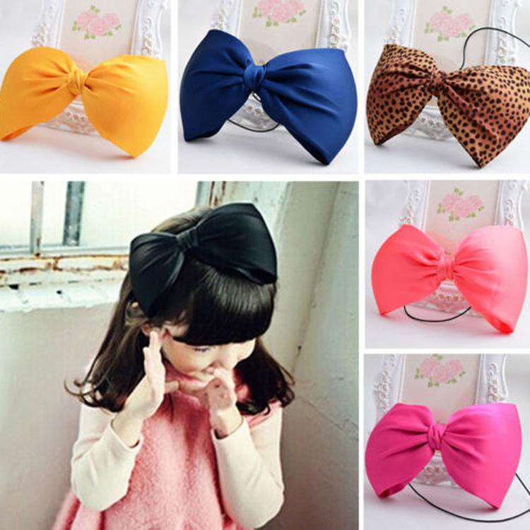 New Cute Large Bow Headband Classic School Baby Headband Large Bow Knot Girls Hair Accessories 5 Colors BB-266(China (Mainland))