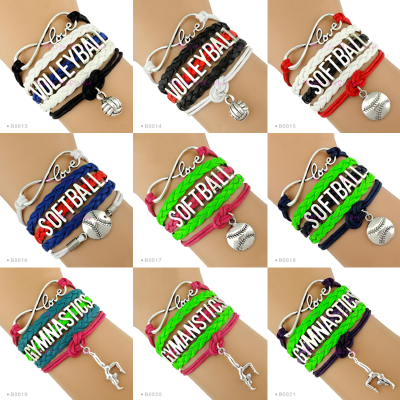 (10 Pieces/Lot) Infinity Love Volleyball Bracelet Baseball Bracelet Softball Bracelet Gymnastics Bracelet - Customizable(China (Mainland))