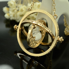 Gold Plated  Harry Potter Time Turner Necklace Hermione Granger Rotating Spins Gold Hourglass Statement Necklace NL194(China (Mainland))