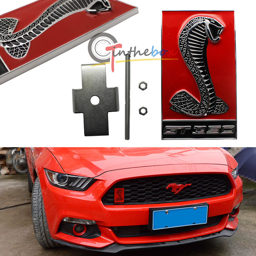 1PC Red 3D Snake GT350 Metal Front Grill Grille Emblem Sticker for Ford Mustang(China (Mainland))