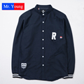 2016 New Letter R France National Flag Long Sleeve Men Cotton Shirts Fashion Trend Striped Subcrude