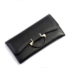 New Arrival Fashion Clasp Style Lady Long Designed Clutch Female Casual Party Dress Purse Women Genuine Leather Wallet / PL-51(China (Mainland))