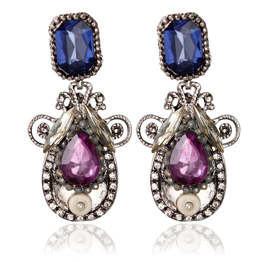 Europe Old Fashion Vintage Antique Gold and Silver Plated Oval Shaped Resin Crystal Dangle Earrings(China (Mainland))