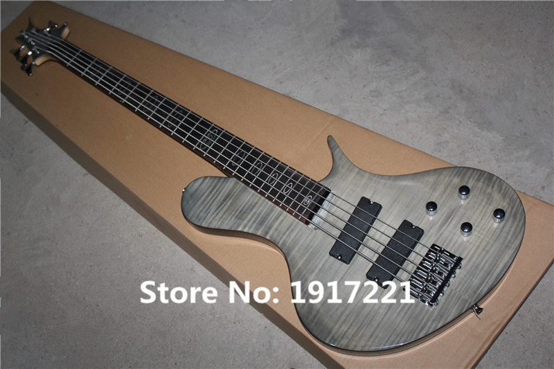 Hot Sale 5-String Electric Bass with Grey Body and Flame Maple Veneer,24 Frets,Oval Fret Marks Inlay,should be Customized(China (Mainland))