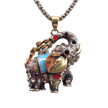 Free Shipping Vintage Cold Jewelry Rhinestone Necklace Elephants Pendant necklaces Women Fashion Sweater Chain(China (Mainland))