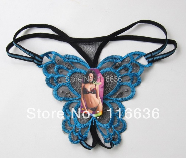 NEW Sexy lacework panties Butterfly RETAIL Tag Hollow out sexy g-string hollow Thong tanga lingerie ropa intima dama(China (Mainland))