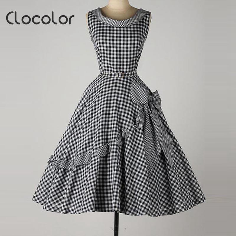 Clocolor Vintage summer spring fall women fashion dress Bow font b Plaid b font A line
