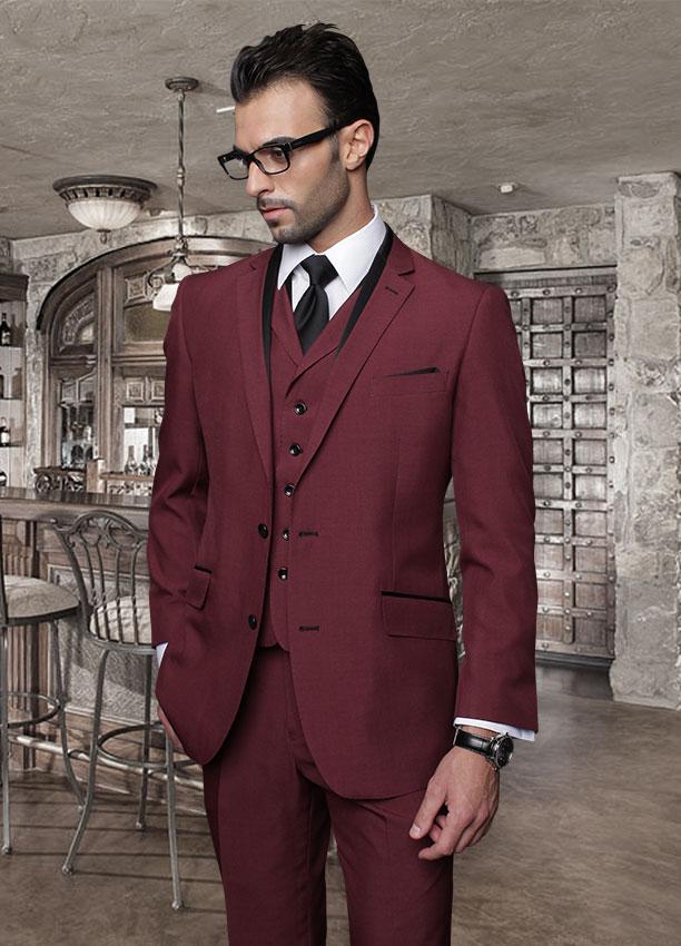 2015 Italian Custom Made Burgundy Men Wedding Suits Cheap Jacket Pants Tie Vest Mens Tuxedos For