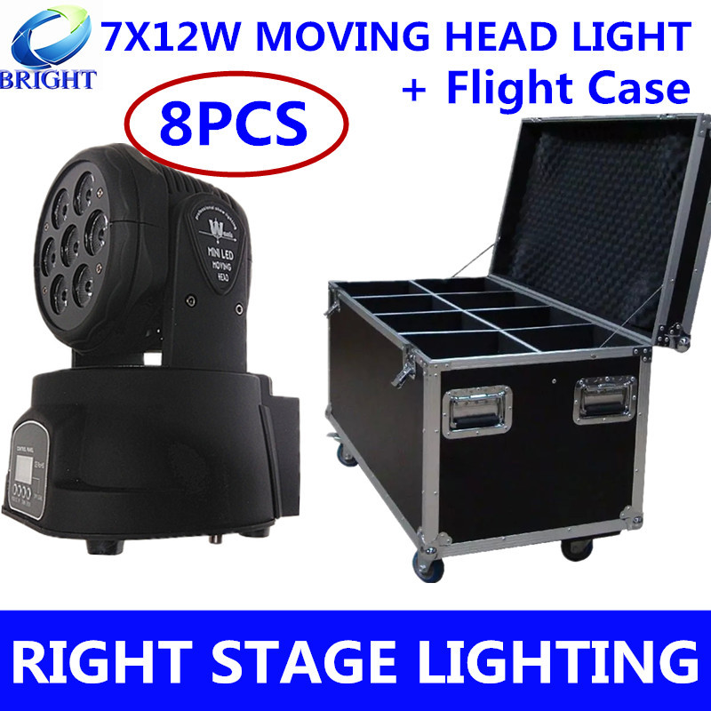 8pcs/ 7X10W moving head light + Flight Case RGBW 4in1 beam light dmx control disco light professional dj equipment(China (Mainland))