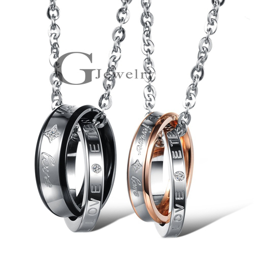 Hot Korean jewelry wholesale beautifully carved FOREVER LOVE quality titanium steel couple pendant necklace GX866(China (Mainland))