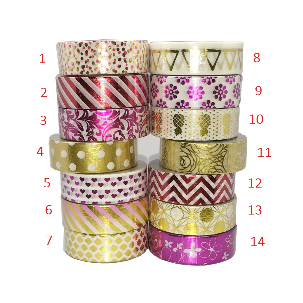 Flower Dot Triangle Gold Foil Washi Paper Tape Kawaii Fita Adesiva Decorativa For Gift Packing Wedding(China (Mainland))