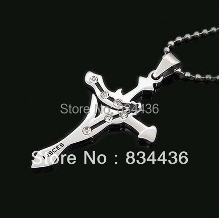 Free shipping PISCES Constellation style zodiac astrology horoscope stainless steel necklace pendant with ball chain(China (Mainland))
