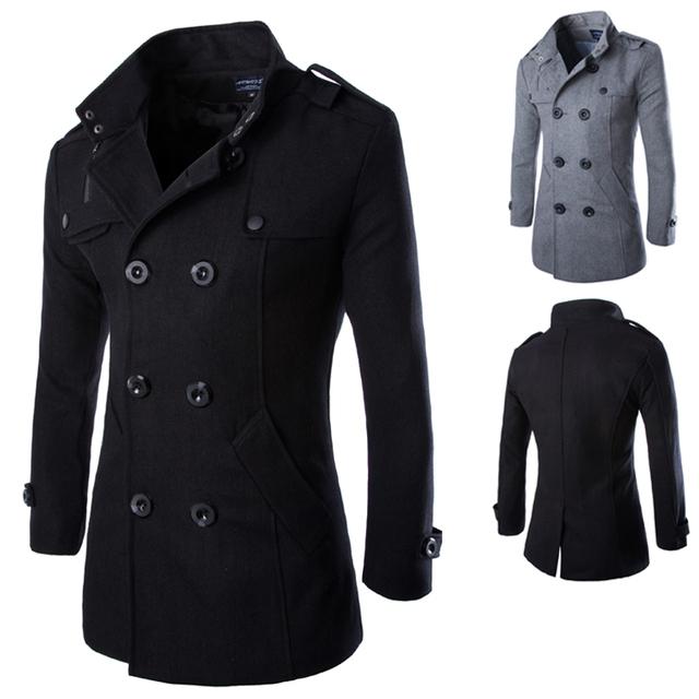 2016 новое поступление двубортный зимнее шерстяное пальто свободного покроя уменьшают ...