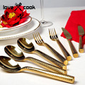 Upscale western hotel clubs tableware golden spoon knife and fork gift box stainless steel tableware 2pcs