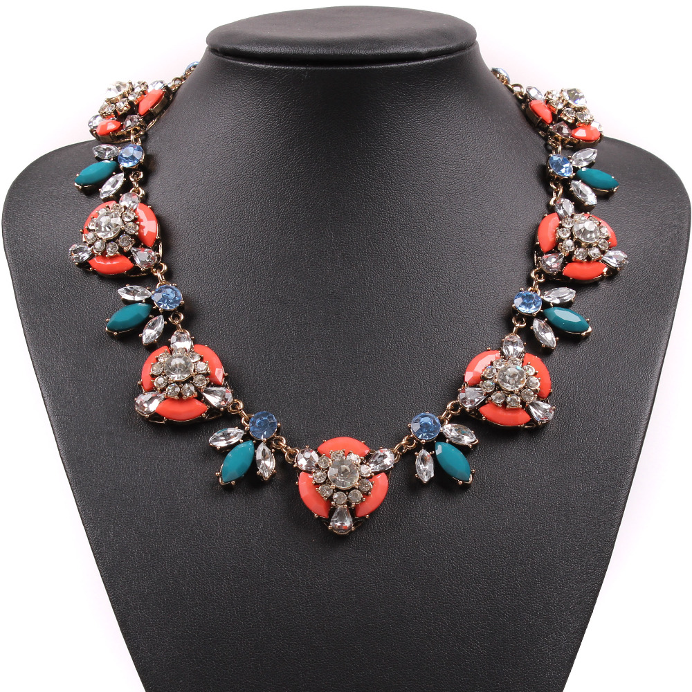 2017 New Fashion Design J Brand Colorful Resin Gold Chain Pendant Luxury Chunky Statement Necklace Crystal For Women Jewelry(China (Mainland))