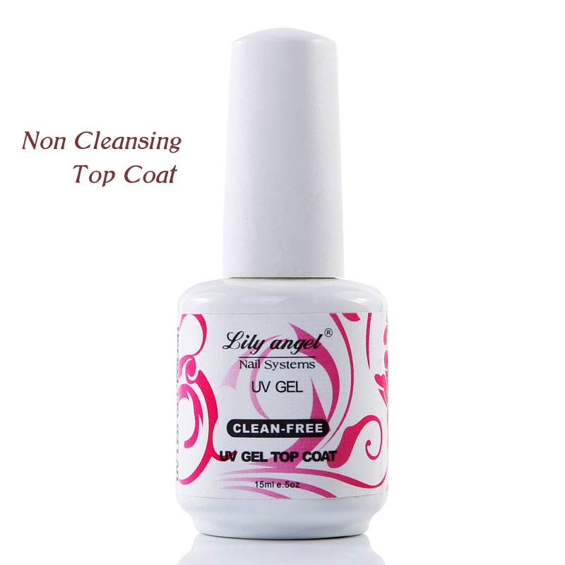 lily angel New Arrival 15ml Black Bottle Non Cleaning Top Coat Mirrow Shinning One Step Top Coat Gel Polish Top Cover Coating