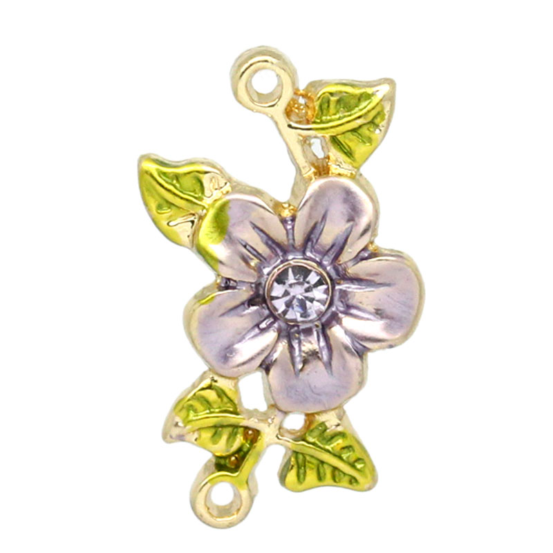 2016 NEW 10Pcs Metal Charm Connectors Rhinestone Flower Leaves Multicolor 20mmx13mm (Over $120 Free Express)(China (Mainland))