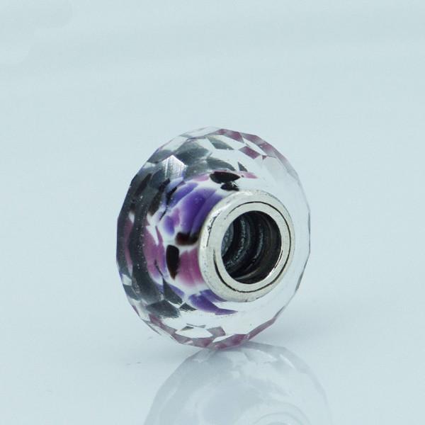 Чистый 925-Sterling-Silver ювелирные изделия розовый Shiboli грановитая муранского стекла бусины подходит пандора браслет DIY женщины ювелирных изделий