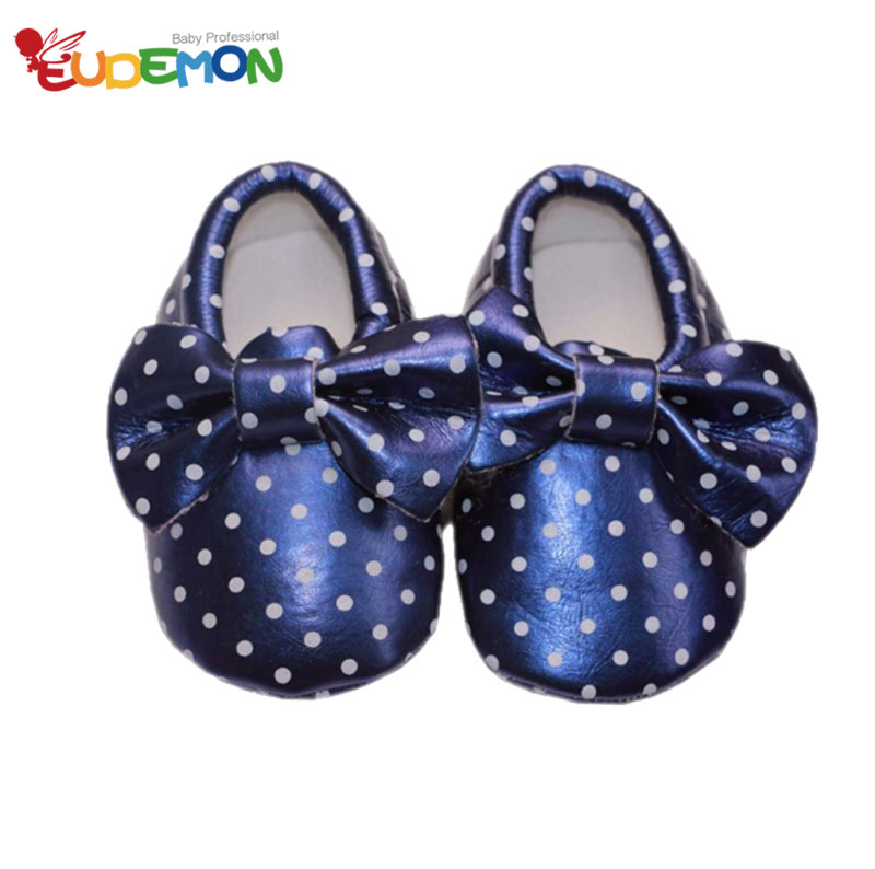 2016 Dot baby shoes PU Leather Candy Color Bow baby girl shoes Soft Sole Skid baby mocassins for toddller infant child shoes(China (Mainland))