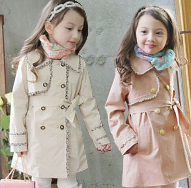 Free EMS 2015  Fashion Autumn Elegant  Children Trench  Girls Long Outerwear  Kids Windbreaker with Belt  Clothes Pink Apricot <br><br>Aliexpress