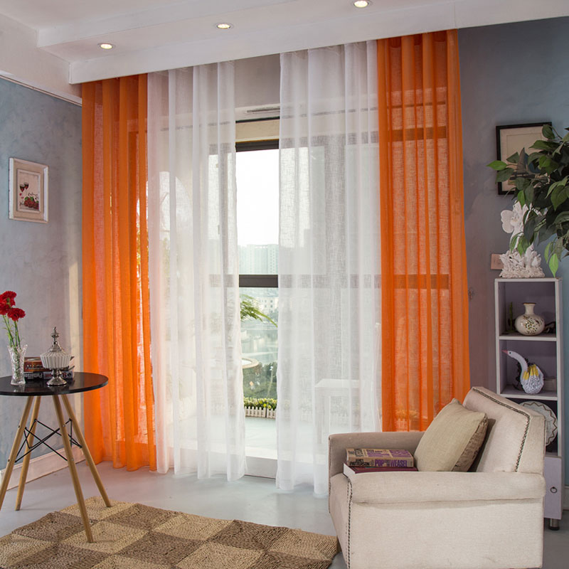 1 panel modern sheer curtains window decoration solid color voile curtain hooks top living room - Fine curtin for a sitting room ...