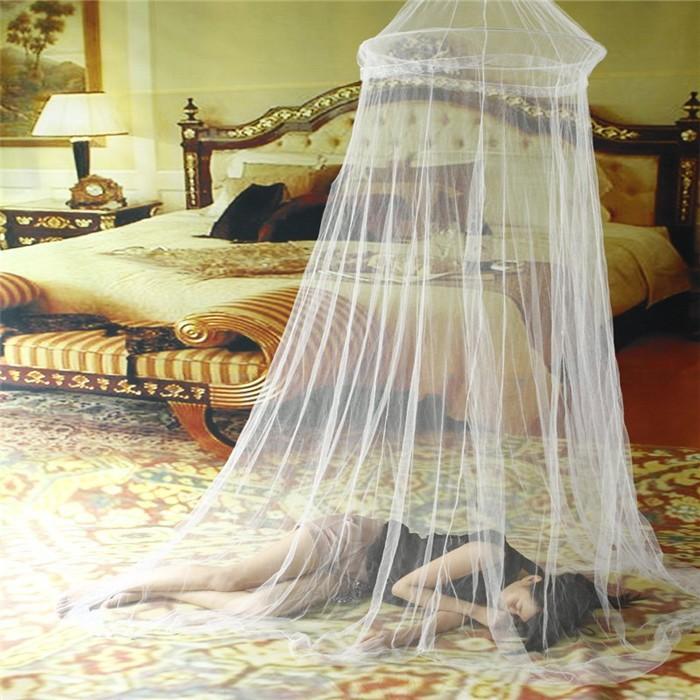 Гаджет   1pc Elgant Round Lace Mosquito Net Solid White Mosquito Net Bed  Light Mosquitero Easy for Using Klamboe Bed Canopy None Дом и Сад