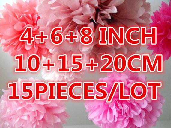 "15pcs/lot mixed 3 sizes(10cm/4"",15cm/6"",20cm/8"")Tissue Paper Pom Poms ,Wedding Flower ball(China (Mainland))"