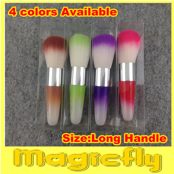 [NDB-X3]4 x Nail Art Dust Cleaning Brush Long Handle Manicure Tool Soft Cosmetic Make Up Brush Fluorescent Color + Free Shipping(China (Mainland))