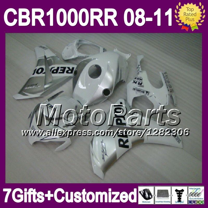 7giftsFor HONDA Repsol White CBR1000RR CBR 1000 1000RR NEW *8163 CBR1000 RR HOT Silvery 08 09 10 11 2008 2009 2010 2011 Fairing(China (Mainland))