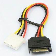 Discount  cable adapter 15 Pin SATA Male to 4 Pin Molex Female IDE HDD Power Hard Drive Cable(China (Mainland))